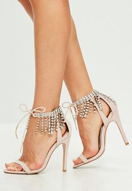 Nude Jewel Embellished Barely There Heel