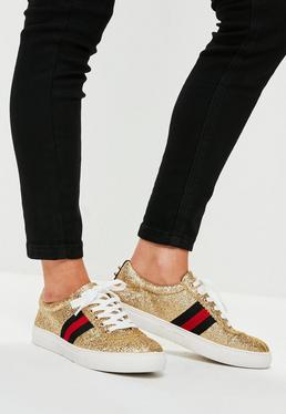 Gold Glitter Lace Up Sneakers
