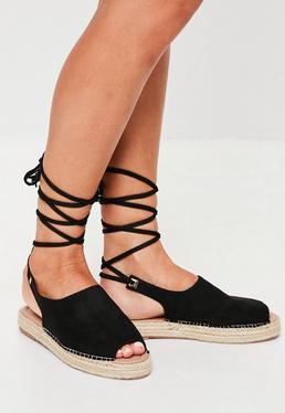 Espadrilles noires peep toe