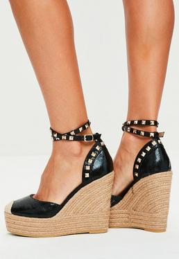 Black Metallic Heeled Espadrilles