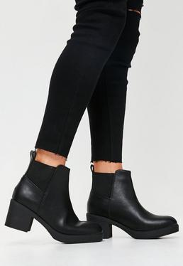 Black Chelsea Faux Leather Ankle Boots
