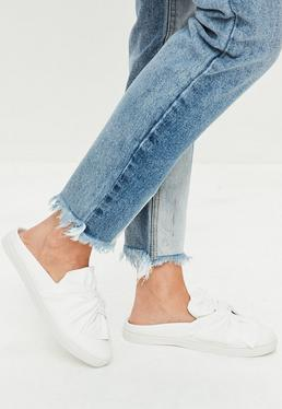 White Slip On Bow Front Sneakers