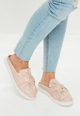 Pink Slip On Bow Front Trainers