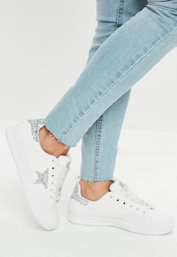 White Glitter Star Print Lace Up Sneakers