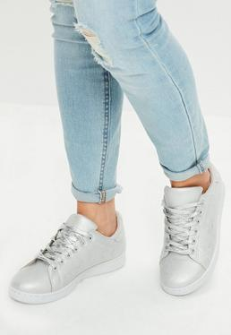 Silver Lace Up Sneakers