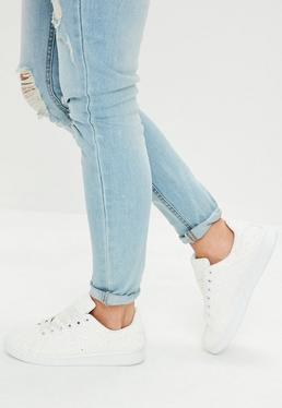 White All Over Glitter Lace Up Trainers