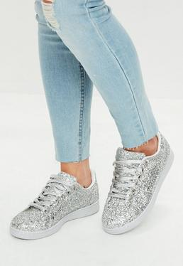 Silver All Over Glitter Detail Lace Up Sneakers