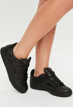 Black All Over Black Glitter Detail Lace Up Trainers