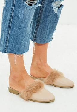 Nude Faux Fur Trim Mules