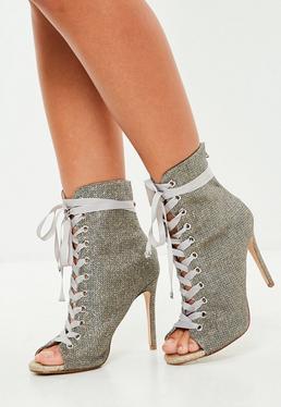 Carli Bybel x Missguided Purple Glitter Lurex Peep Toe Ankle Boot