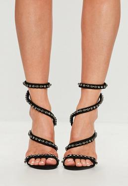 Carli Bybel x Missguided Black Jewel Wrap Around Heeled Sandals
