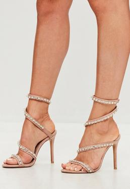 Carli Bybel x Missguided Nude Jewel Wrap Around Heeled Sandals