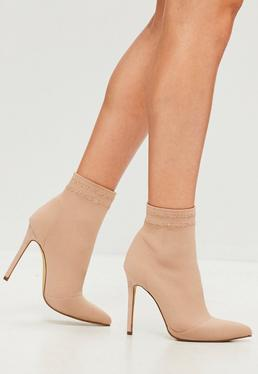 Carli Bybel x Missguided Nude Heeled Sock Boots