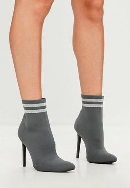 Carli Bybel x Missguided Grey Knitted Stripe Pointed Ankle Boots