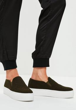 Khaki Glitter Slip On Flatform Sneakers
