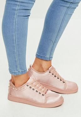 Pink Satin Pearl Trim Lace Up Sneakers