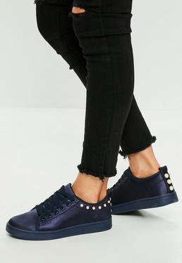 Blue Satin Lace Up Sneakers