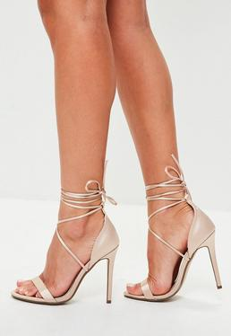 Nude Satin Lace Up Barely There Heels