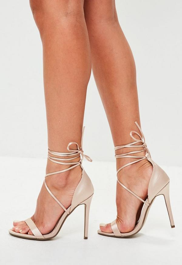 Satin Lace Up Riemen Sandalen In Nude Missguided