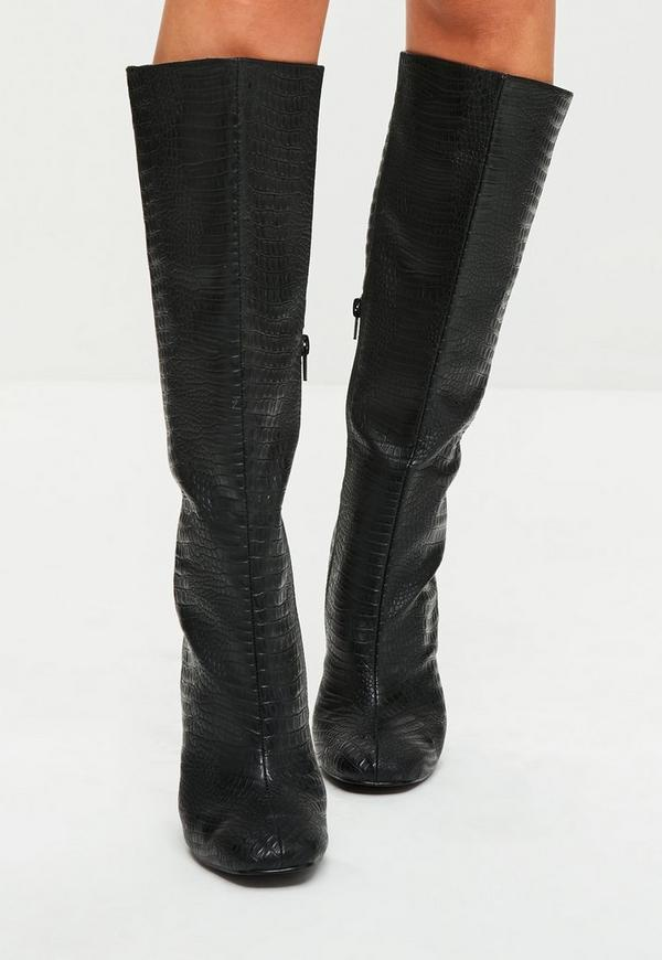 black snake print lace up knee high boots missguided