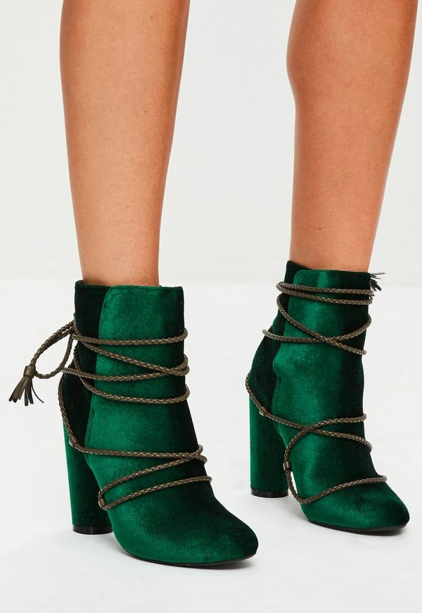 Green Velvet Wrap Around Ankle Boots Missguided