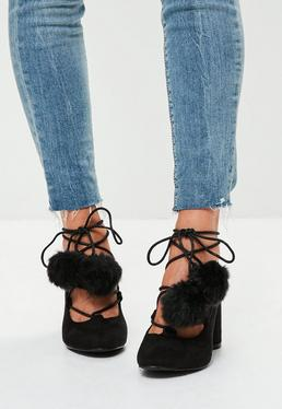 Black Pom Pom Lace Up Closed Toe Block Heels