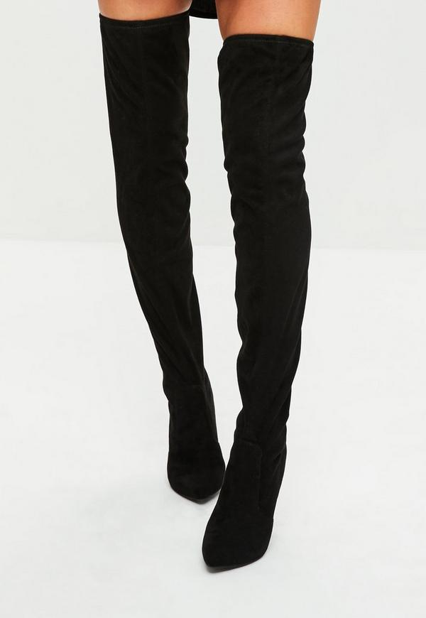 black cone heeled thigh high boots missguided