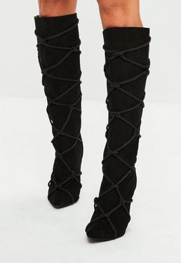 Black Criss Cross Rope Detail Boots