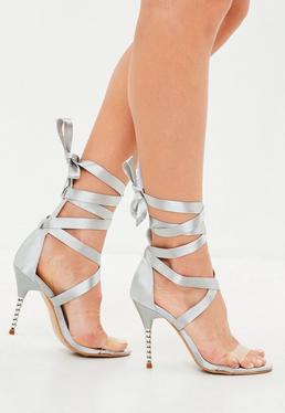 Gray Satin Wrap Sandals