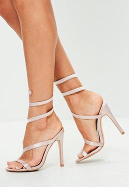Pink Spiral Satin Heeled Sandals