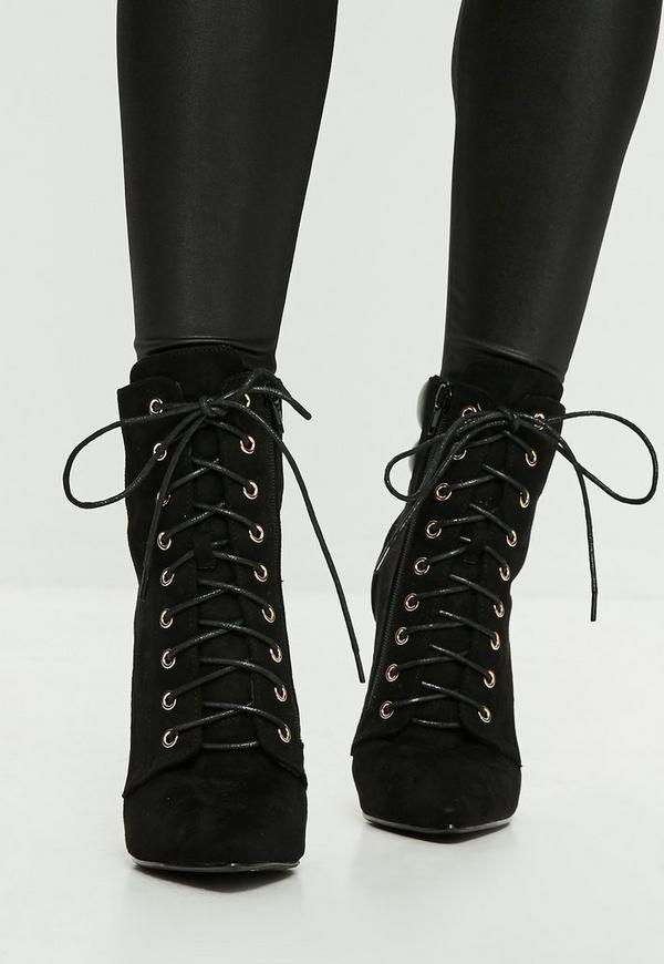 Black Lace Up Ankle Boots Missguided