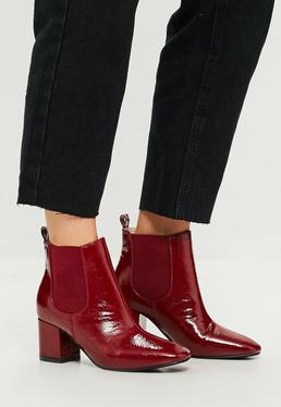 Red Vinyl Chelsea Ankle Boots