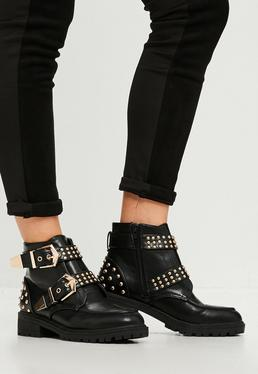 Black Studded Chunky Out Sole Ankle Boots