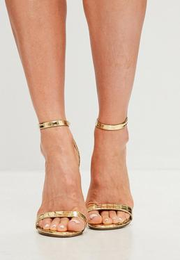 Gold Two Strap Croc Barely There Heels