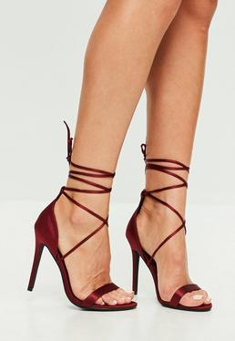 Red Satin Lace Up Barely There Heels