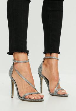 Silver Asymmetric Shimmer Barely There Heel
