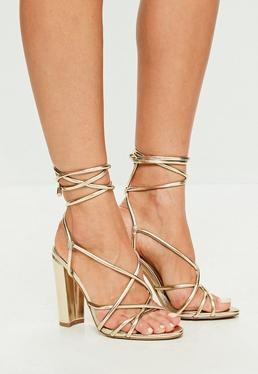 Gold Faux Leather Strappy Heeled Sandals