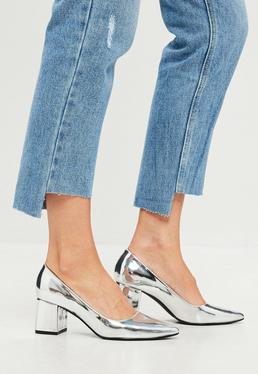 Silver Mid Heel Block Court Shoes
