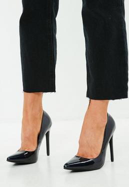 Black Pointed Heel Patent Pumps