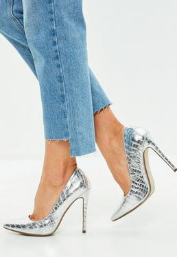Silver Pointed Heel Croc Court Shoes