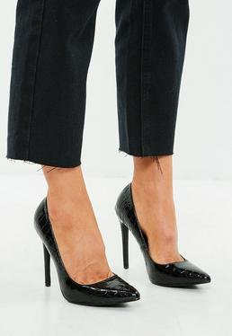 Black Pointed Heel Croc Pumps