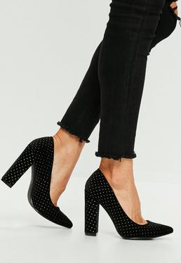 Black Block Heel Speckled Pumps