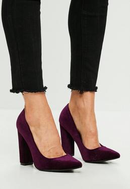 Purple Block Heel Pointed Velvet Pumps