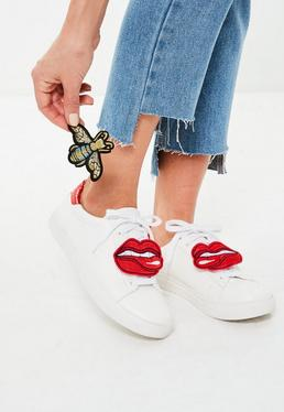 White Badge Lace Up Sneakers