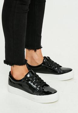 Black Vinyl Flatform Sneakers