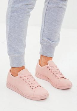 Pink Faux Leather Trainers