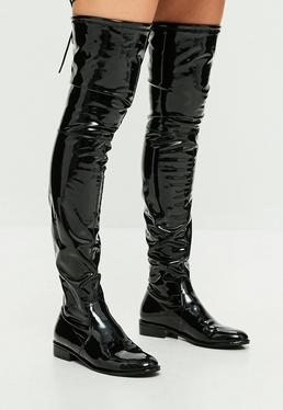 Black Round Toe Vinyl Over The Knee Boots