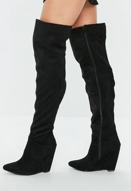 Black Pointed Toe Wedge Knee High Boot
