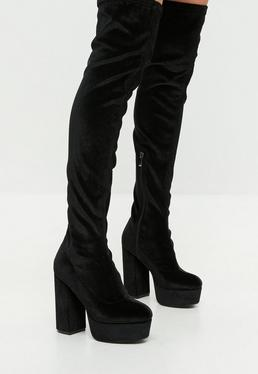 Black Velvet Platform Over The Knee Boots