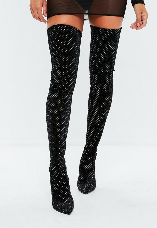 Black Faux Suede Over The Knee Boots Missguided
